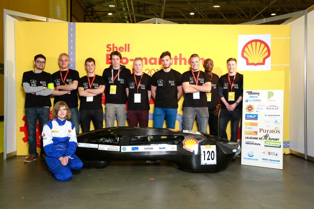 The EcoMotion 5, #120, ethanol prototype, competing for team EcoMotion from Haute Ecole de la Province de Liege, Seraing, Belgium poses for a portrait during practice day 1 of the Shell Eco-marathon Europe 2015 in Rotterdam, Netherlands, Wednesday, May 20, 2015. (Jiri Buller/AP Images for Shell)