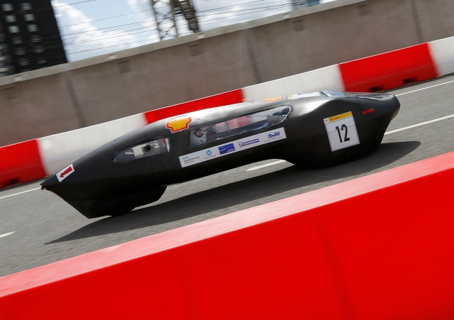 The EcoMOTION 6, #12, a ethanol prototype racing for team EcoMOTION from Haute Ecole De La Province De Liege, Seraing, Belgium on the track during Make the Future London 2016 at the Queen Elizabeth Olympic Park, Sunday, July 3, 2016 in London, UK. (Chris Ison for Shell)